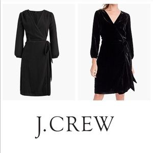 J.Crew Black Wrap Velvet Dress
